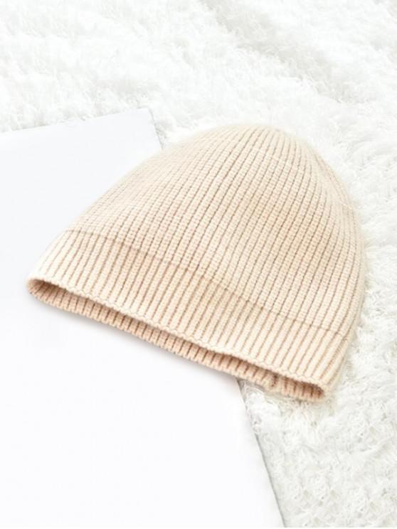 Chapeau d'Hiver Tricoté en Couleur Unie - Beige