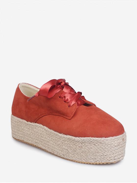 shop Low Top Espadrille High Platform Shoes - RED EU 38
