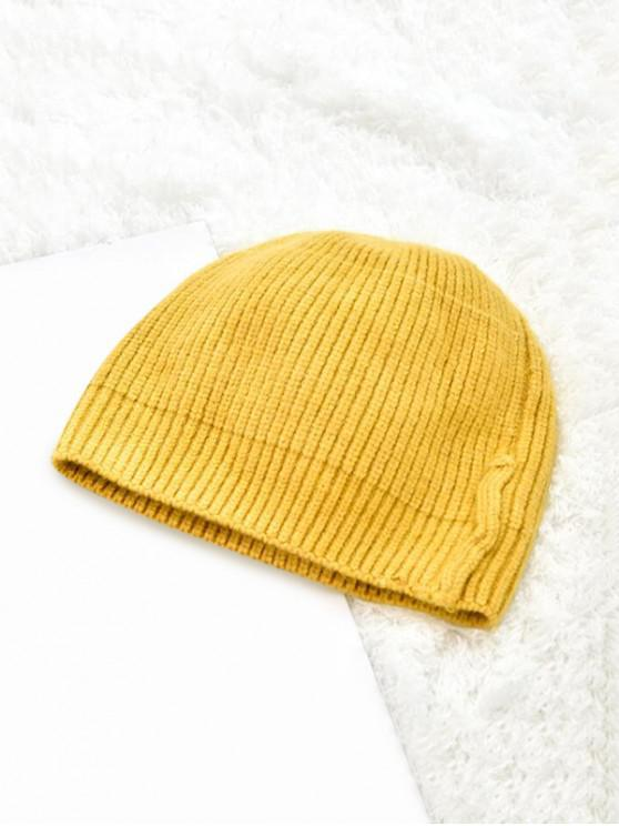 unique Winter Solid Knitted Skullcap Hat - YELLOW