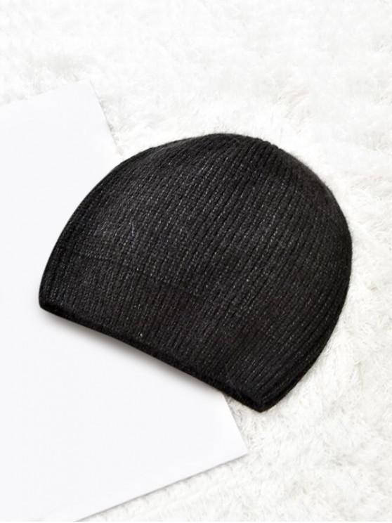 buy Winter Solid Knitted Skullcap Hat - BLACK