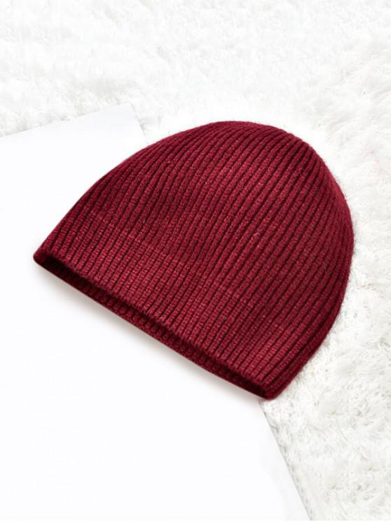 womens Winter Solid Knitted Skullcap Hat - RED WINE