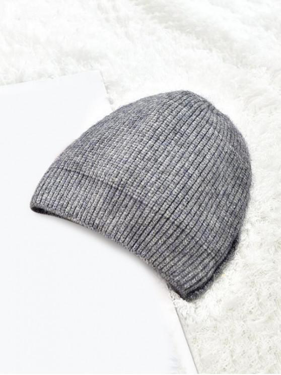 women Winter Solid Knitted Skullcap Hat - GRAY
