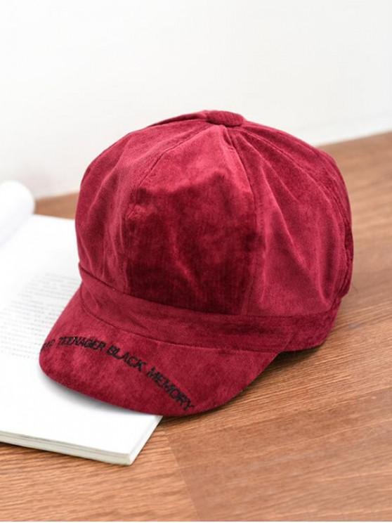 outfits Letter Embroidery Octagonal Velour Casual Peaked Hat - FIREBRICK