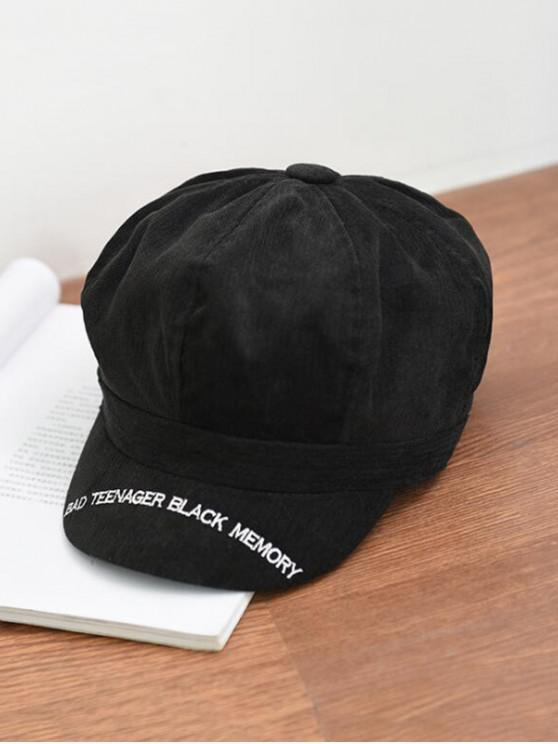 shop Letter Embroidery Octagonal Velour Casual Peaked Hat - BLACK