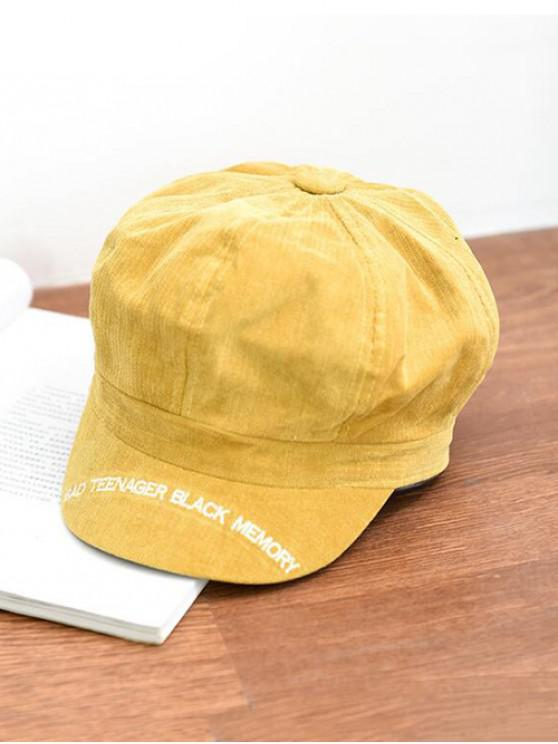 trendy Letter Embroidery Octagonal Velour Casual Peaked Hat - YELLOW