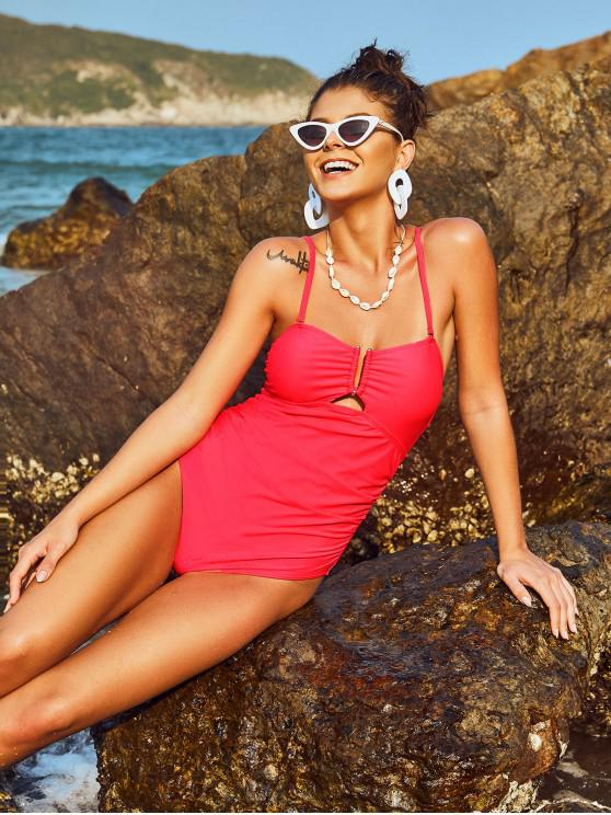 women's ZAFUL Ruched V-wire One-piece High Cut Tube Swimsuit - RED S