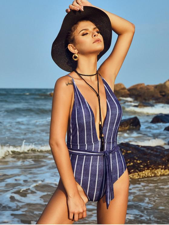 buy Striped Denim Print Belted Backless One-piece Swimsuit - MULTI-A L