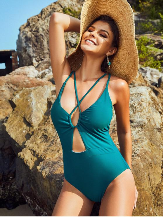 buy ZAFUL Cutout Crisscross One-piece Swimsuit - PEACOCK BLUE XL