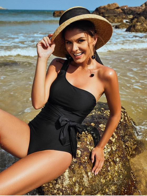 best ZAFUL One Shoulder Belted One-piece Swimsuit - BLACK M