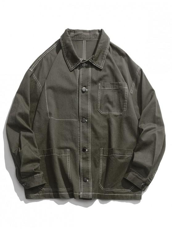 online Casual Solid Color Pocket Design Button Jacket - ARMY GREEN L