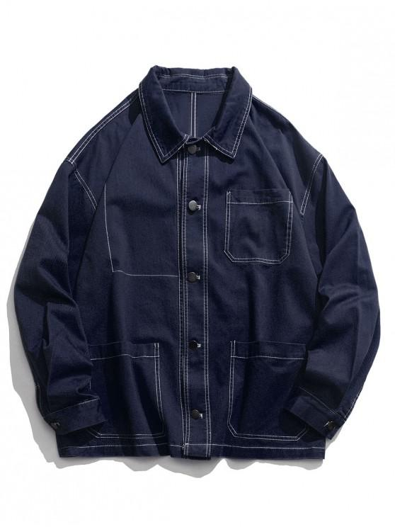 new Casual Solid Color Pocket Design Button Jacket - CADETBLUE M