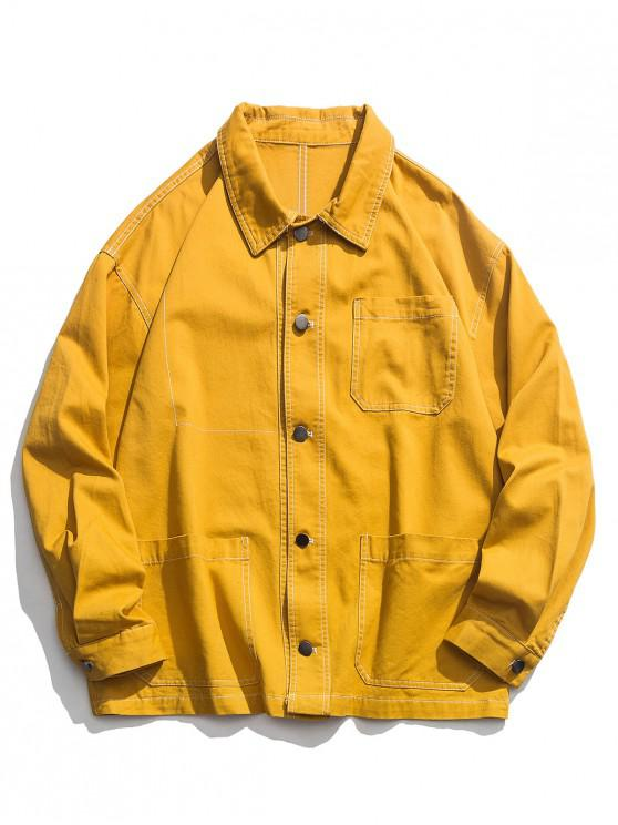 hot Casual Solid Color Pocket Design Button Jacket - BRIGHT YELLOW 2XL