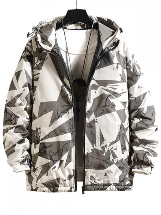 best Raglan Sleeve Geometric Print Hood Quilted Jacket - WHITE 2XL