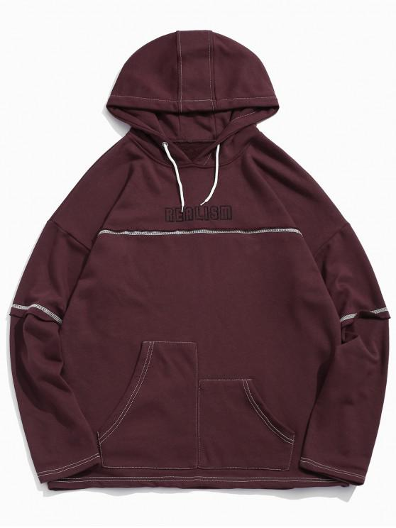 new Realism Graphic Creative Pocket Drop Shoulder Hoodie - RED WINE L
