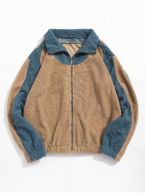 outfits ZAFUL Color Blocking Panel Fluffy Teddy Jacket - MULTI L