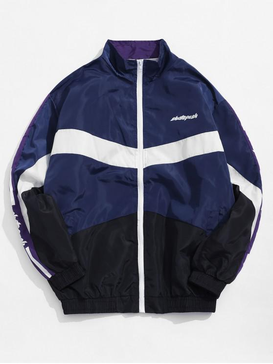 trendy Color Blocking Graphic Print Zip Up Jacket - DEEP BLUE XL