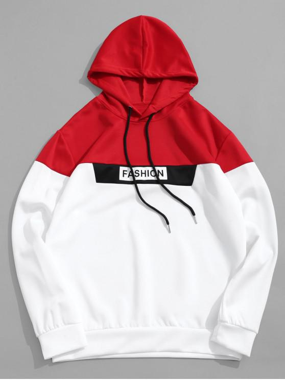 online Color Blocking Panel Letter Print Drawstring Hoodie - WHITE M