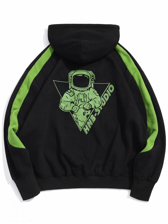 best Neon Astronaut Graphic Fleece Front Pocket Hoodie - BLACK L