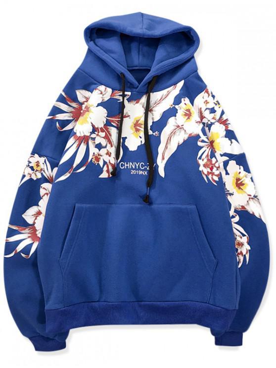 trendy Flower Printed Pocket Casual Hoodie - BLUEBERRY BLUE 2XL