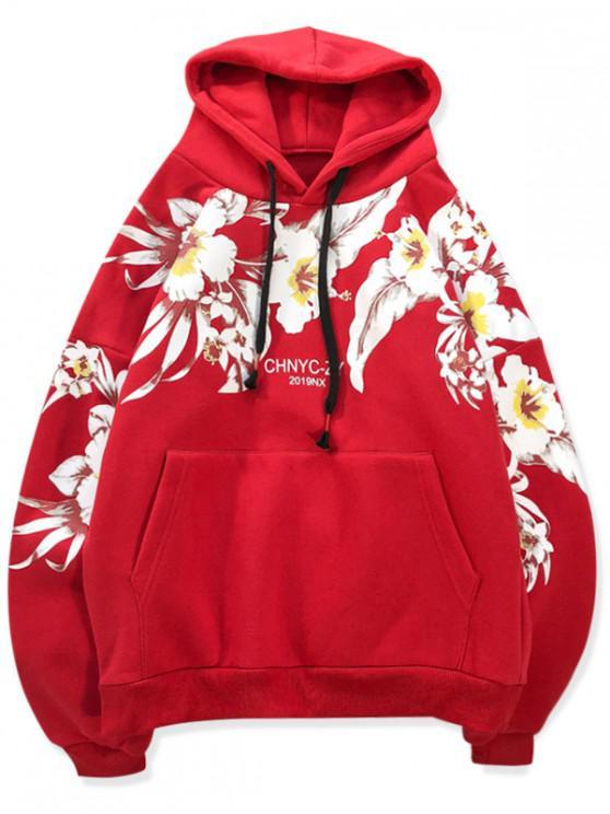 Flori imprimate de buzunar Hoodie Casual - Rosu rubin M