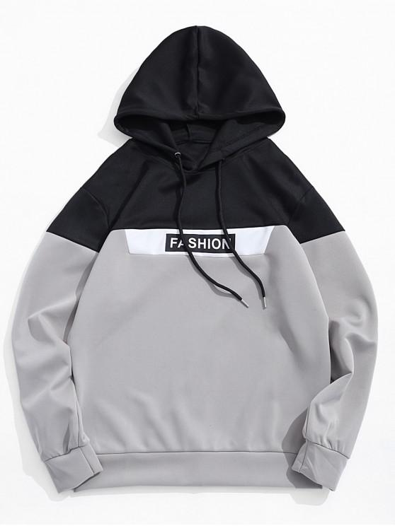 online Color Blocking Panel Letter Print Drawstring Hoodie - GRAY M