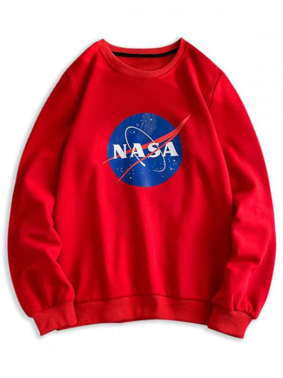 best Letter Graphic Pattern Casual Sweatshirt - LAVA RED XS