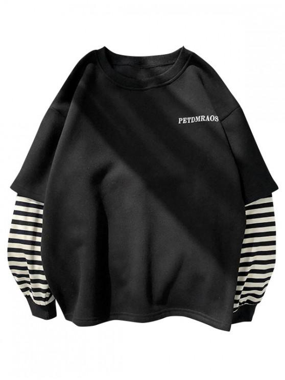 chic Casual Letter Striped Print Sweatshirt - BLACK M