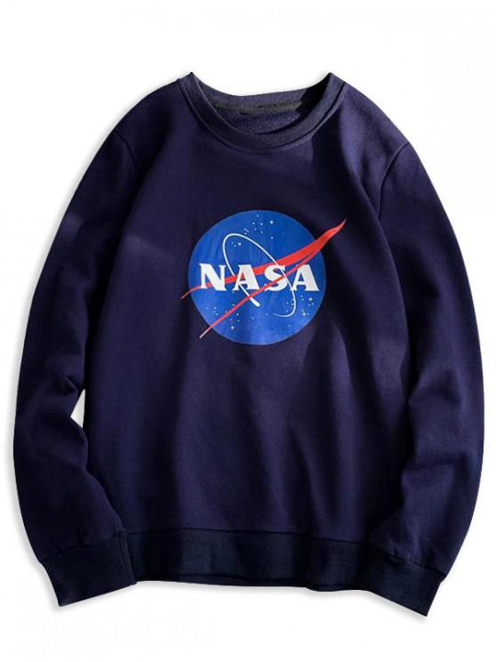 shop Letter Graphic Pattern Casual Sweatshirt - CADETBLUE XL