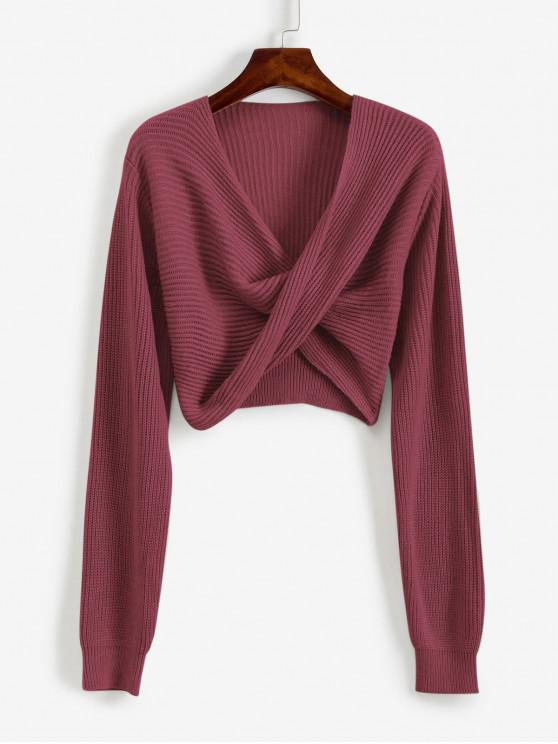 trendy V Neck Cropped Twist Front Sweater - ROSY BROWN XL