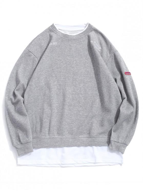 Scrisoare de broderie Grafica colorblock Faux twinset Sweatshirt - Gri deschis L