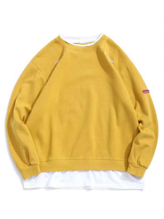 women's Letter Embroidery Graphic Colorblock Faux Twinset Sweatshirt - YELLOW 2XL