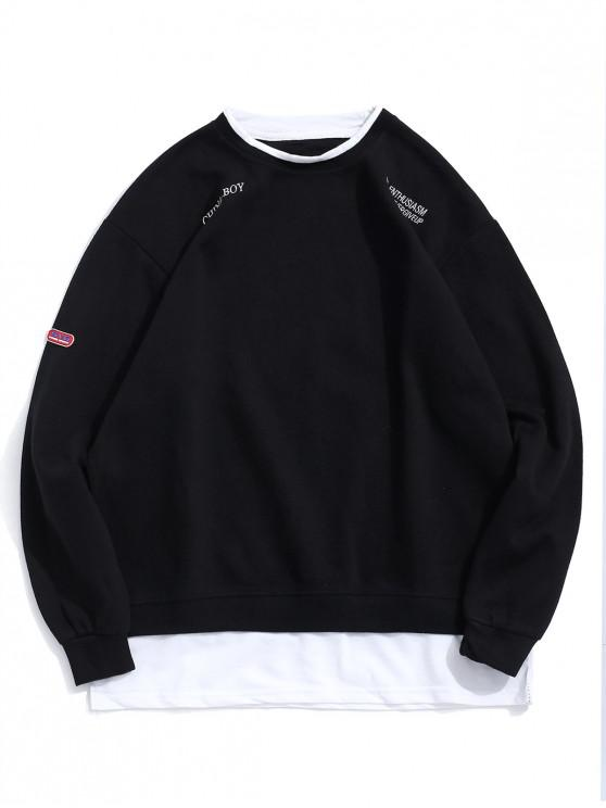 fashion Letter Embroidery Graphic Colorblock Faux Twinset Sweatshirt - BLACK XL