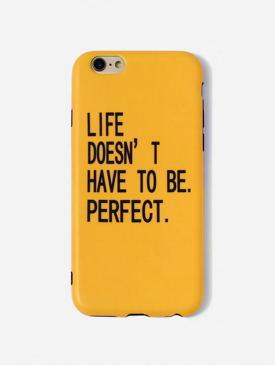 fashion Letters PrintPhone Case For IPhone - BRIGHT YELLOW 6/6S