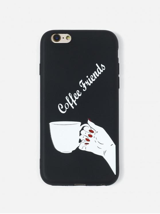 unique Coffee Print TPU Phone Case For IPhone - BLACK 6/6S