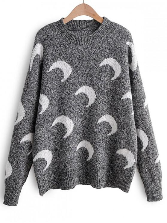 outfit Moon Print Drop Shoulder Pullover Sweater - DARK GRAY ONE SIZE