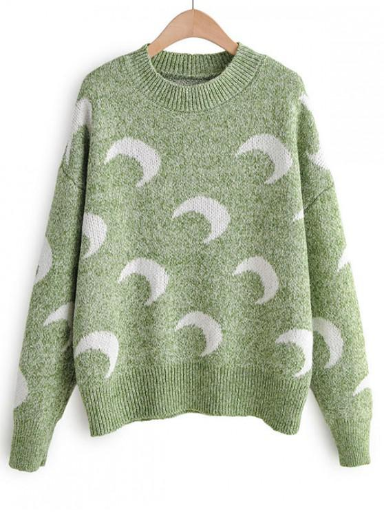 shop Moon Print Drop Shoulder Pullover Sweater - GREEN ONE SIZE