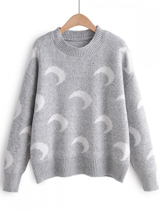 Luna Stampa goccia spalla Pullover Maglione - Grigio Taglia unica