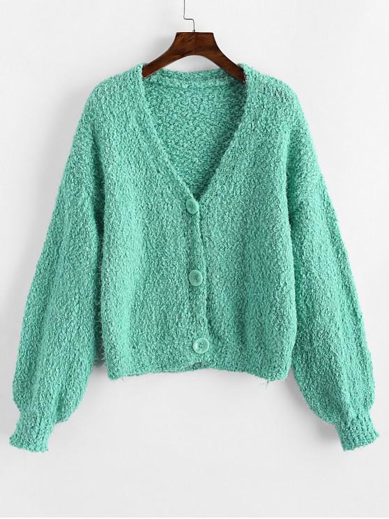 online Button Up Drop Shoulder V Neck Boucle Cardigan - MACAW BLUE GREEN ONE SIZE
