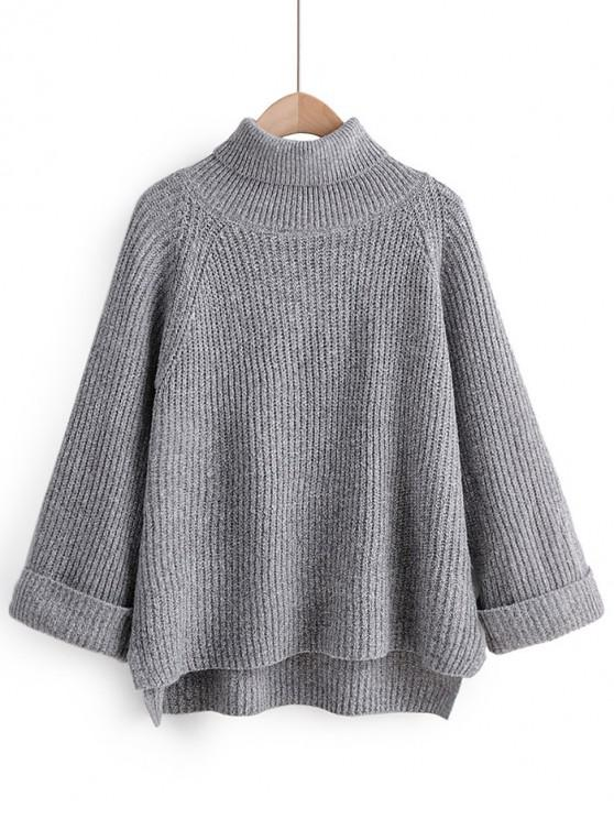 shops Turtleneck Side Slit High Low Sweater - GRAY ONE SIZE