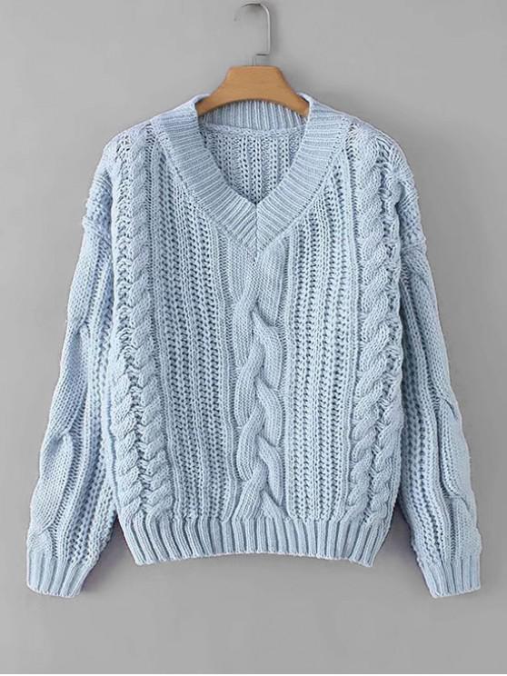 fancy V Neck Chunky Knit Drop Shoulder Sweater - BLUE ONE SIZE