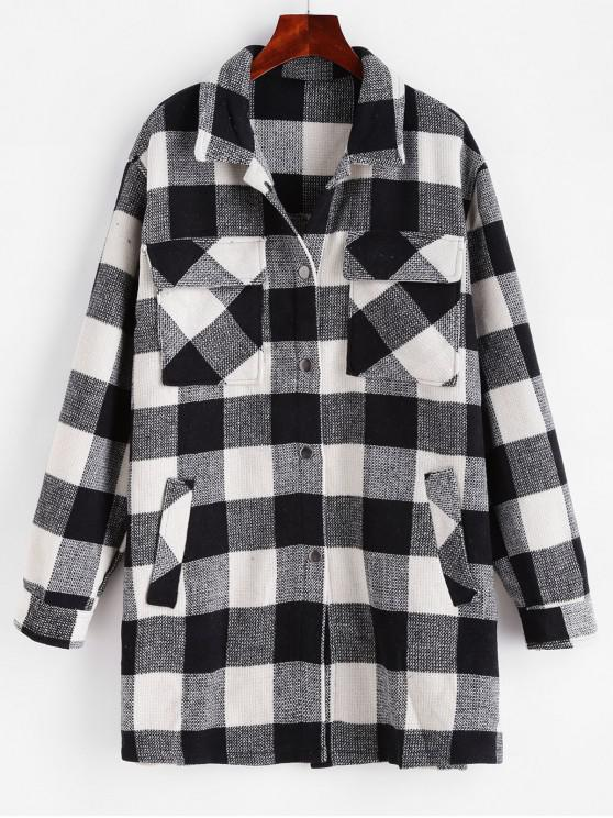 womens Checkered Pocket Longline Coat - MULTI L