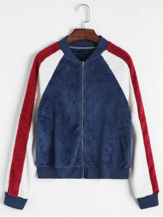affordable Zip Front Fluffy Colorblock Fleece Jacket - BLUE XL