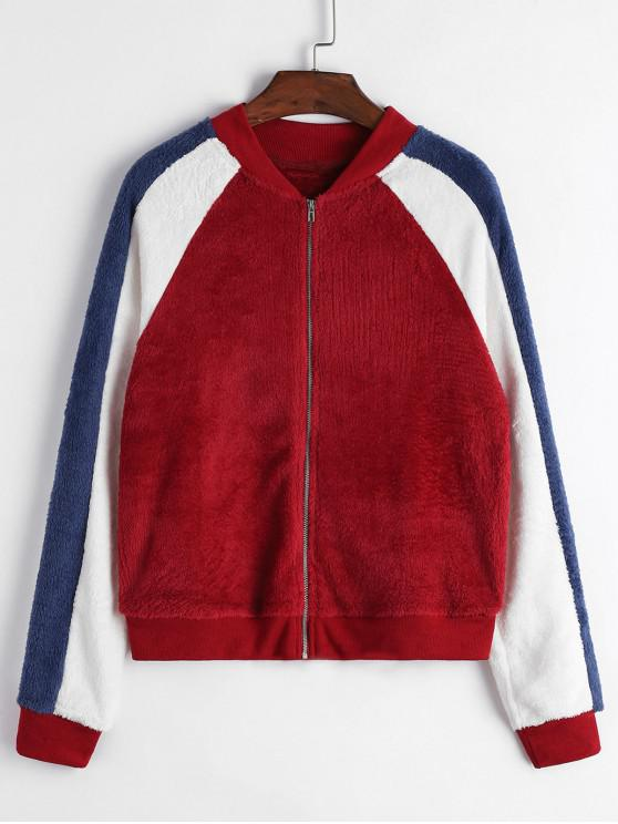 womens Zip Front Fluffy Colorblock Fleece Jacket - RED L