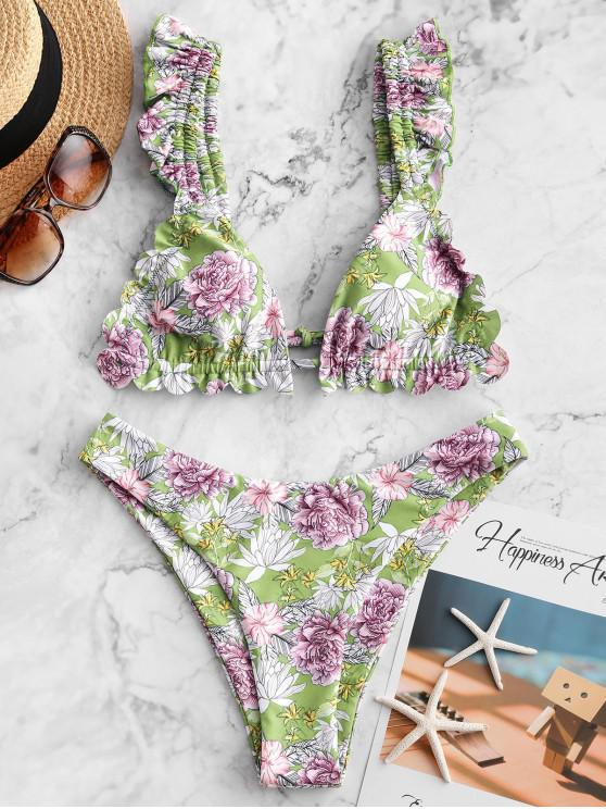 shop ZAFUL Flower Ruffle High Leg Bikini Swimsuit - MULTI-B L