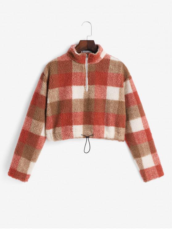 trendy Plaid Drawstring Quarter Zip Teddy Sweatshirt - MULTI-B S