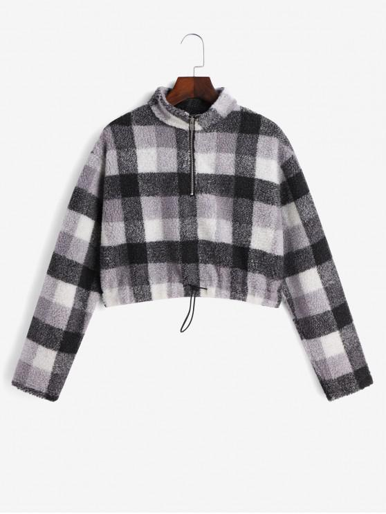 Plaid cordão Quarter Zip camisola Teddy - Multi-A	 S