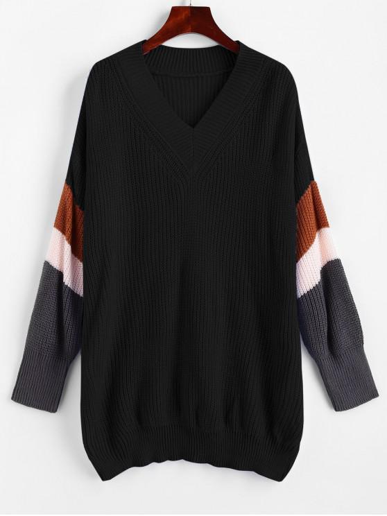 unique V Neck Drop Shoulder Colorblock Jumper Sweater - BLACK L