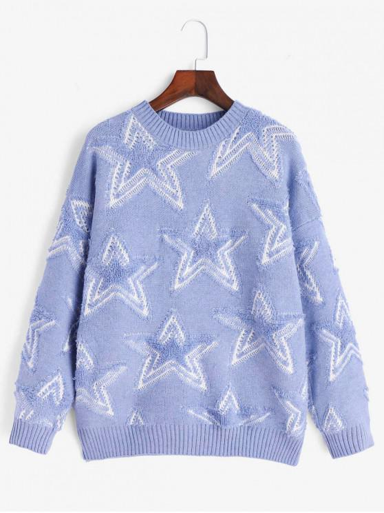 outfits Crew Neck Drop Shoulder Textured Star Sweater - BLUE ONE SIZE