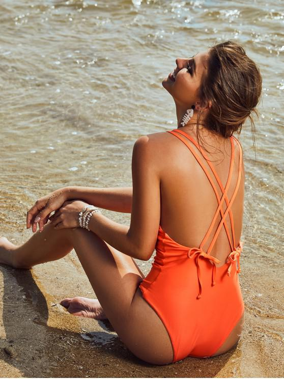 outfits ZAFUL Criss Cross Backless Plunge Front Swimsuit - PUMPKIN ORANGE S
