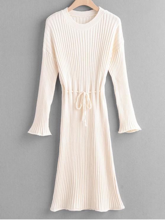 hot Tie Waist Drop Shoulder Ribbed Sweater Dress - BEIGE ONE SIZE